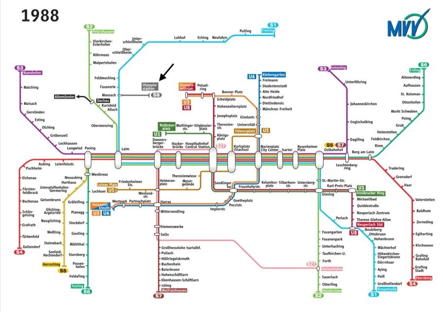 MVV 1988 Schnellbahnnetz