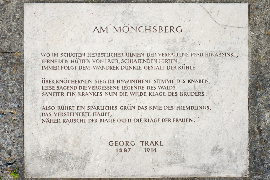 Am Mönchsberg, Georg Trakl, Herbert-Breiter-Terrasse, Dr.-Herbert-Klein-Weg, Moenchsberg, Salzburg, Oesterreich, Austria, fotoeins.com