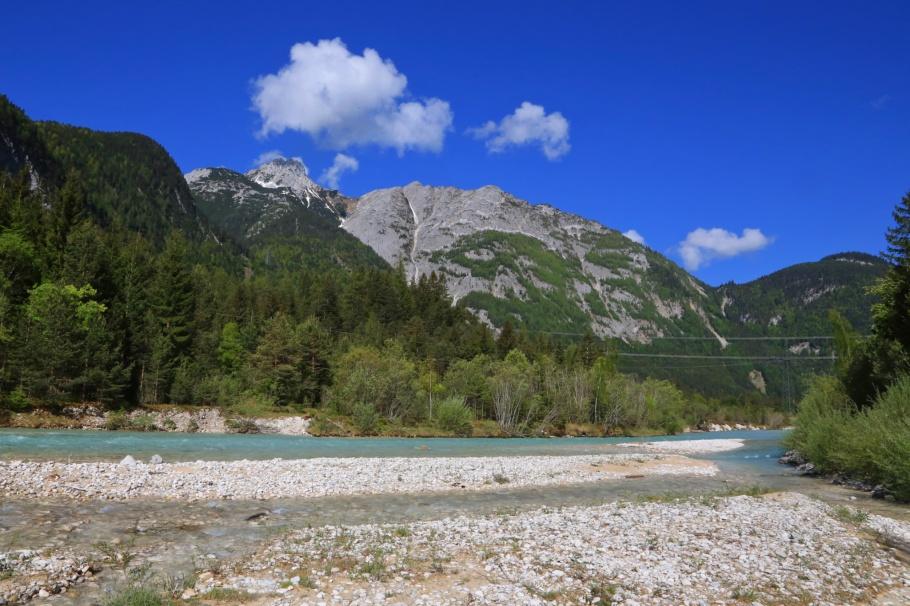 Isar river, Scharnitz pass, Scharnitz, Tirol, Tyrol, Austria, Oesterreich, Mittenwald, Bavaria, Bayern, Oberbayern, Upper Bavaria, Germany, Deutschland, fotoeins.com