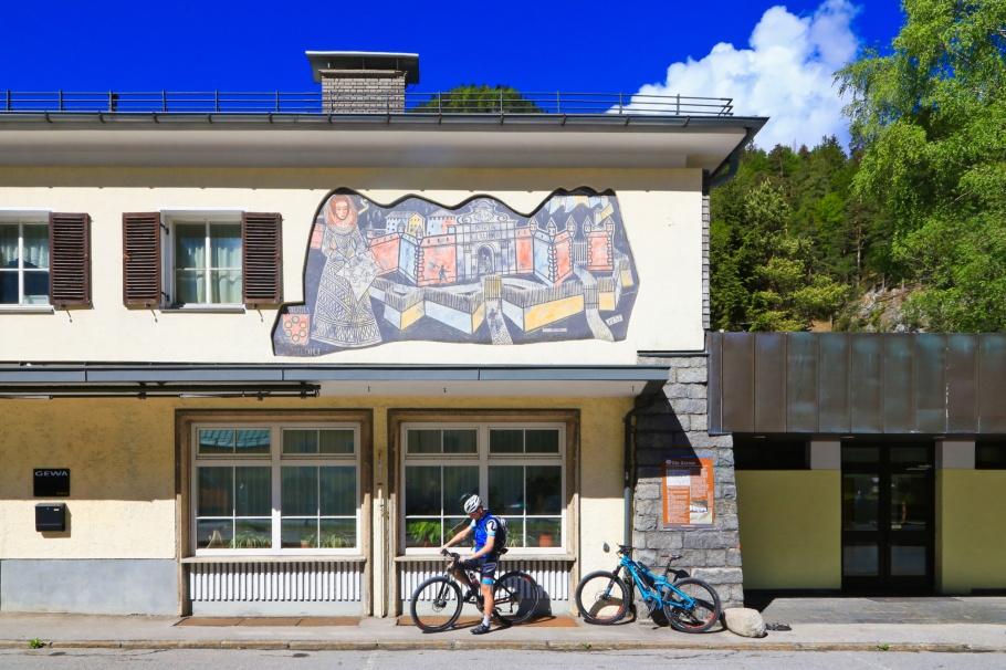 Max Spielmann, mural, Porta Claudia, Scharnitz, Tirol, Tyrol, Austria, Oesterreich, fotoeins.com