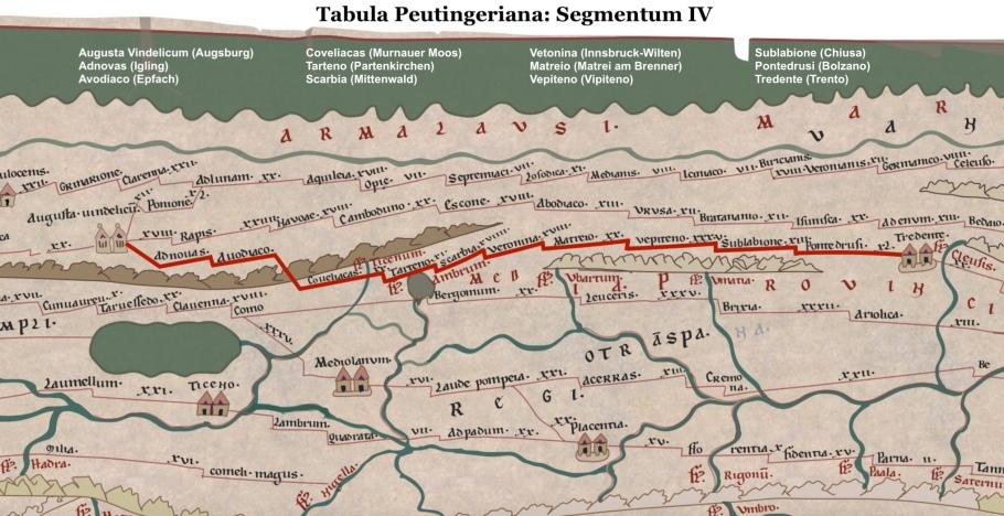 Peutinger map, Tabula Peutingeriana, Segmentum IV, segment 4, Raetia