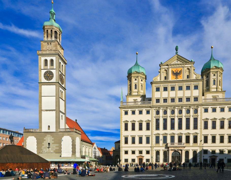 Rathausplatz, Augustusbrunnen, Perlachturm, Rathaus, Augsburg, Schwaben, Swabia, Bavaria, Bayern, Germany, fotoeins.com