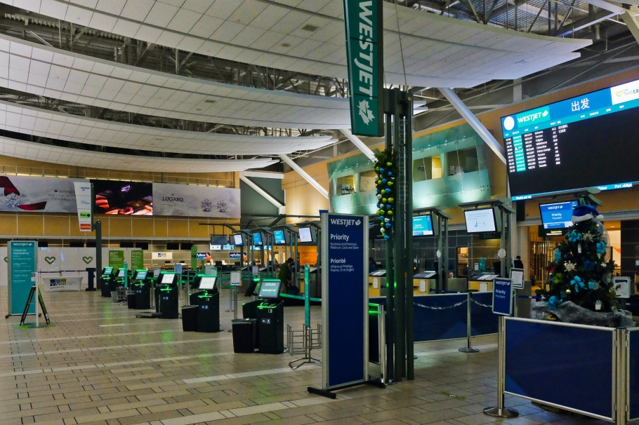 WestJet, Domestic Terminal, Vancouver International Airport, YVR airport, YVR, Vancouver, BC, Canada, fotoeins.com