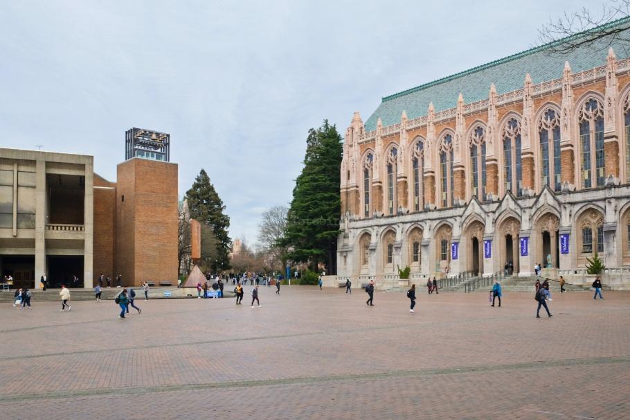 Red Square, Kane Hall, Broken Obelisk, Suzzallo Library, University of Washington, Seattle, Washington, USA, fotoeins.com