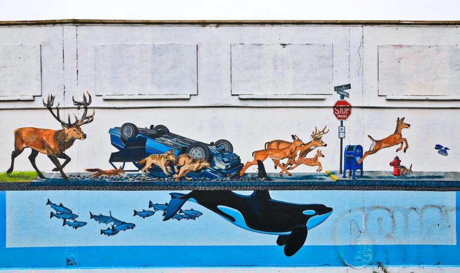 Stampede, Josh Keyes and Urban Artworks, SoDo Track, SoDo, Seattle, Washington, USA, fotoeins.com