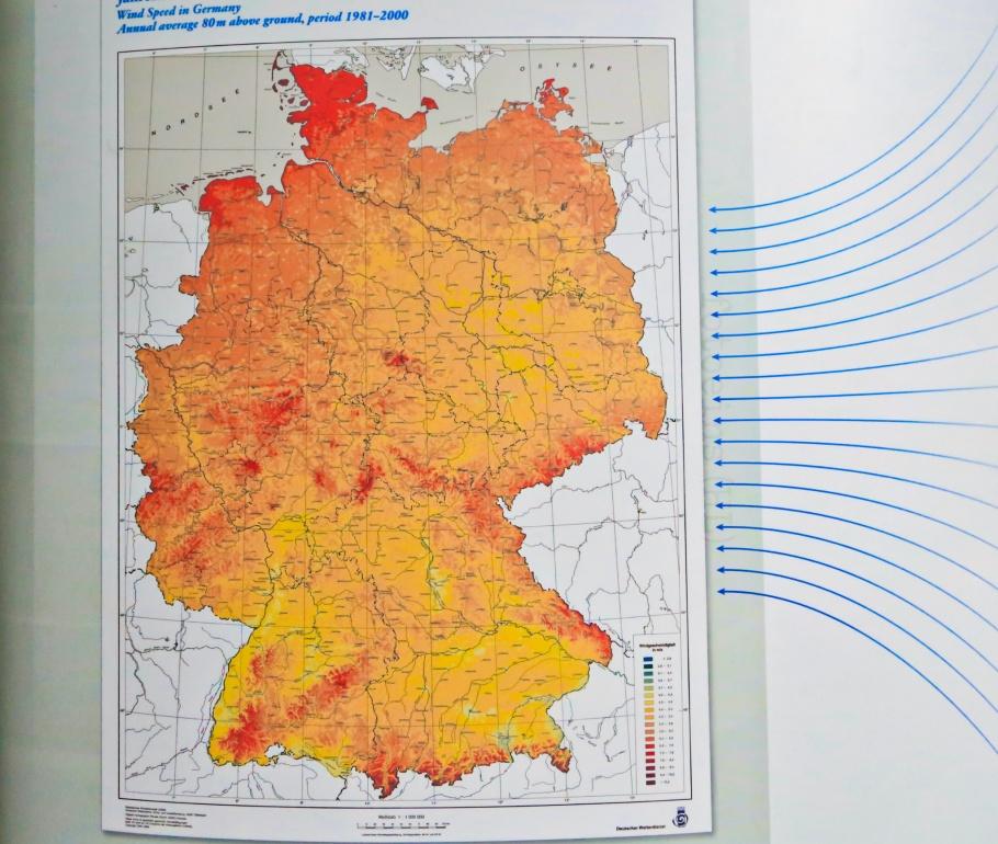 Deutsches Museum, Deutscher Wetterdienst, DWD, annual average wind speed, Muenchen, Munich, Bayern, Bavaria, Oberbayern, Upper Bavaria, Deutschland, Germany, fotoeins.com